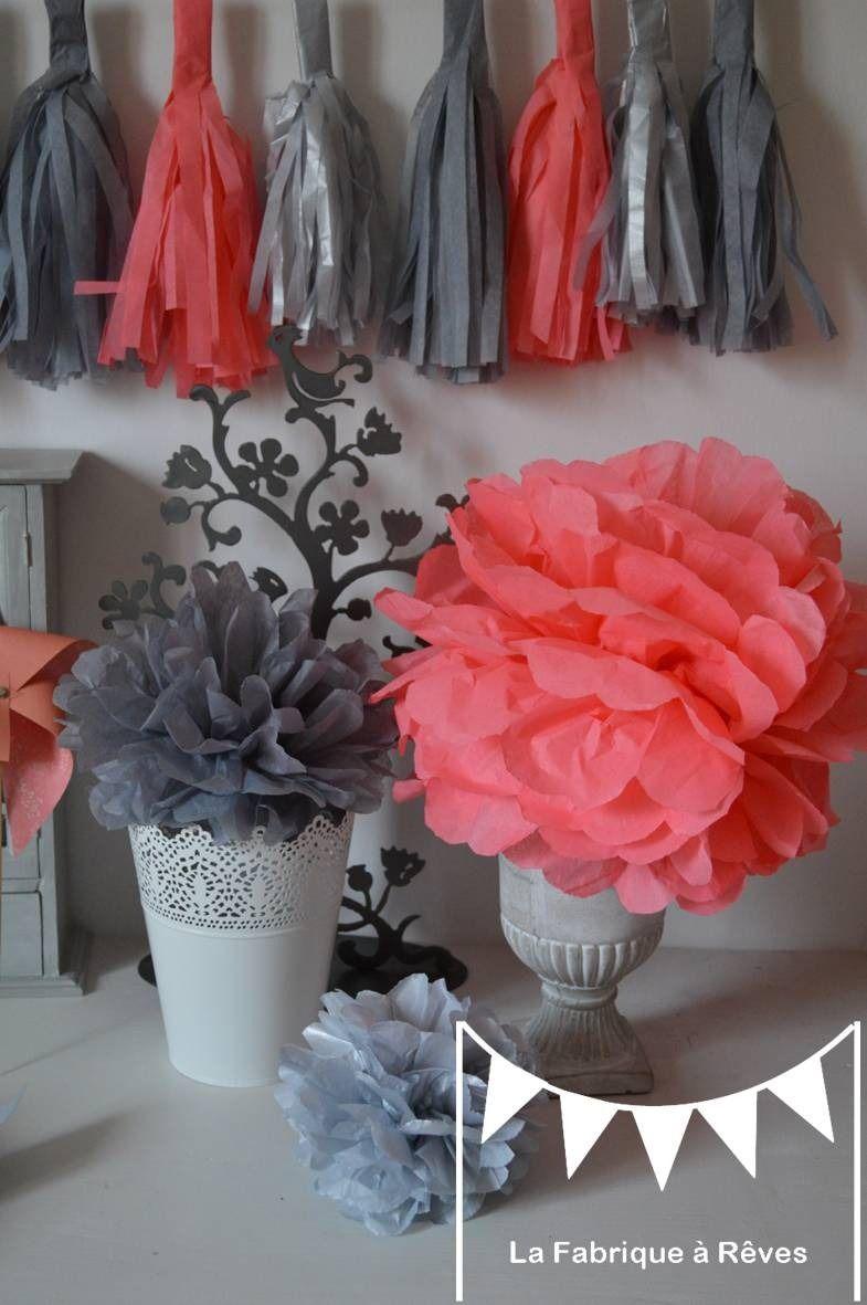 12 pompons papier soie corail gris argent 233 d 233 coration mariage accessoires photobooth