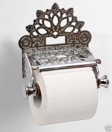 Victorian Toilet Roll Holder Unusual Novelty Vintage Retro Nickel Finish