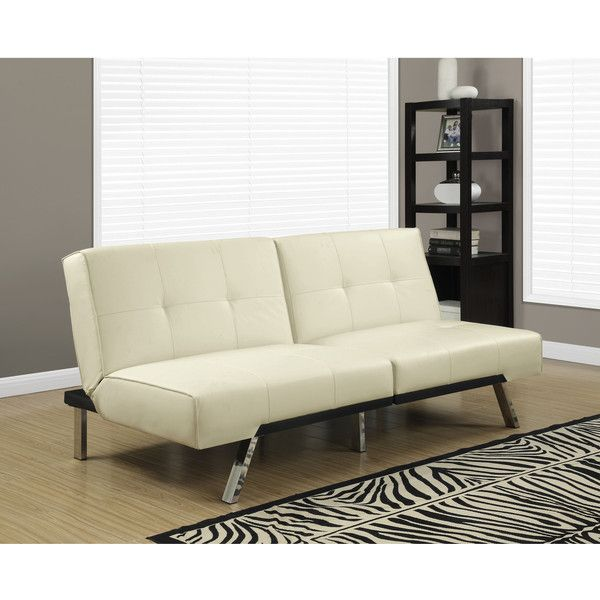 Monarch Click Clack Ivory Faux Leather Modern Split Back Futon 463 Liked On Polyvore Featuring Home Furniture Sofas White Bed