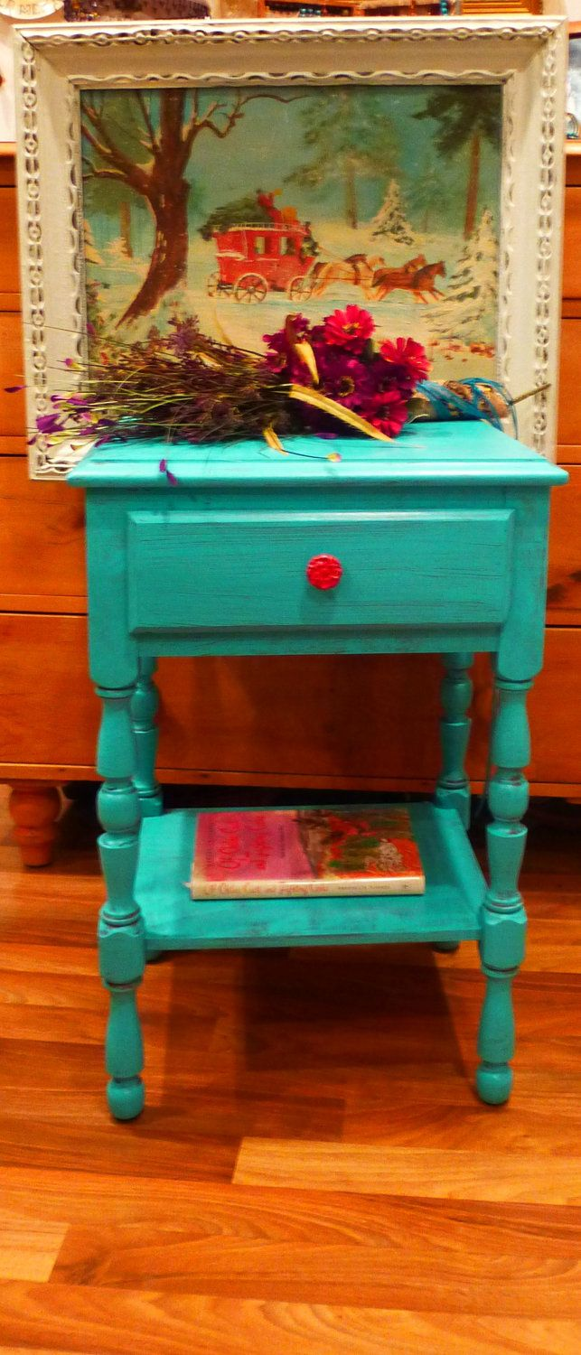 Retro Style Container Bedside Table: Farmhouse Accent Bedside Table Vintage Primitive