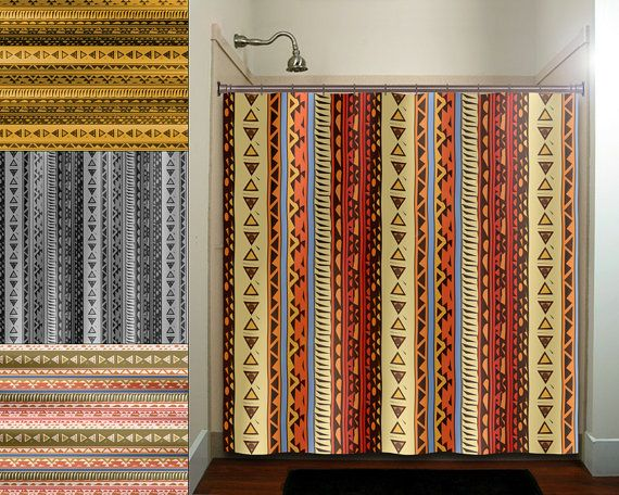 Native Southwestern Art American Tribal Shower Curtains Extra Long