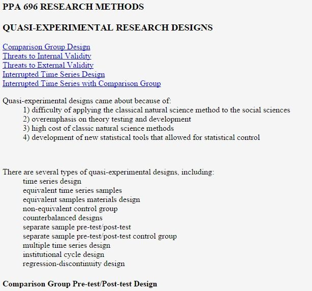 Quasi Experimental Designs/ Research Methods | Program