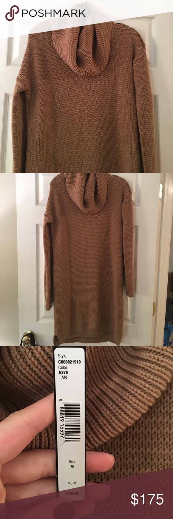 Camel Colored Sweater Black White Striped Scarf Leggings Brown Boots