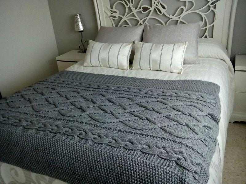 Manta de ochos tejida a mano crochet blanket and knit - Como hacer una manta de lana para el sofa ...
