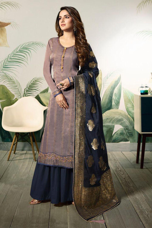 Branded Jasmin Bhasin Purple Colored Heavy Embroidered ...