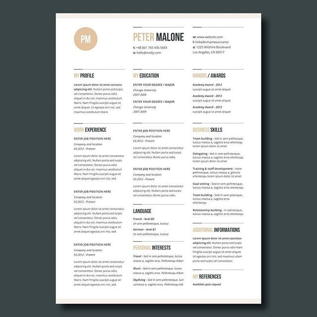 Design Resume Template Creative Resume Template In Microsoft Wordcv With Modern And