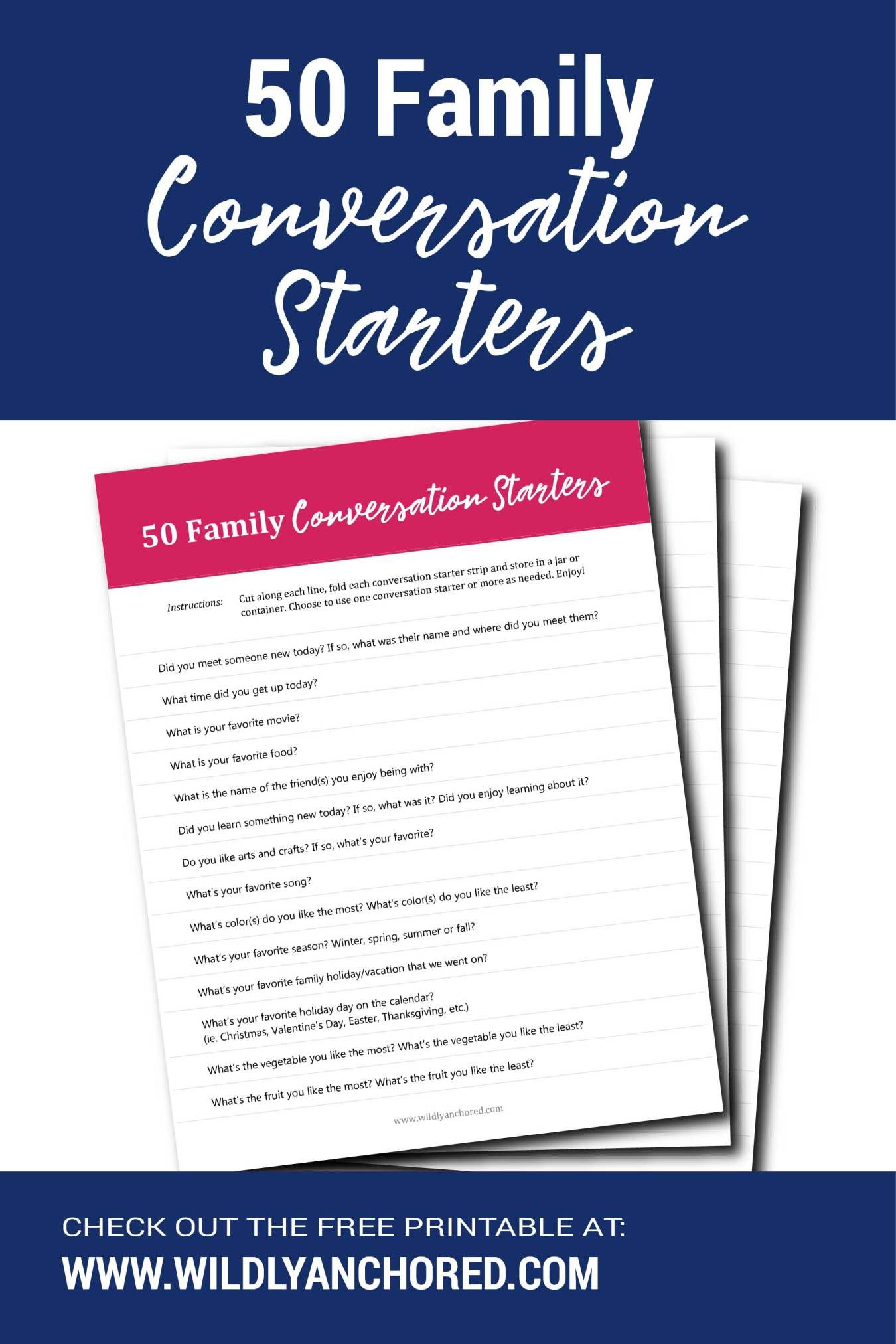 50 Family Conversation Starters Free Printable