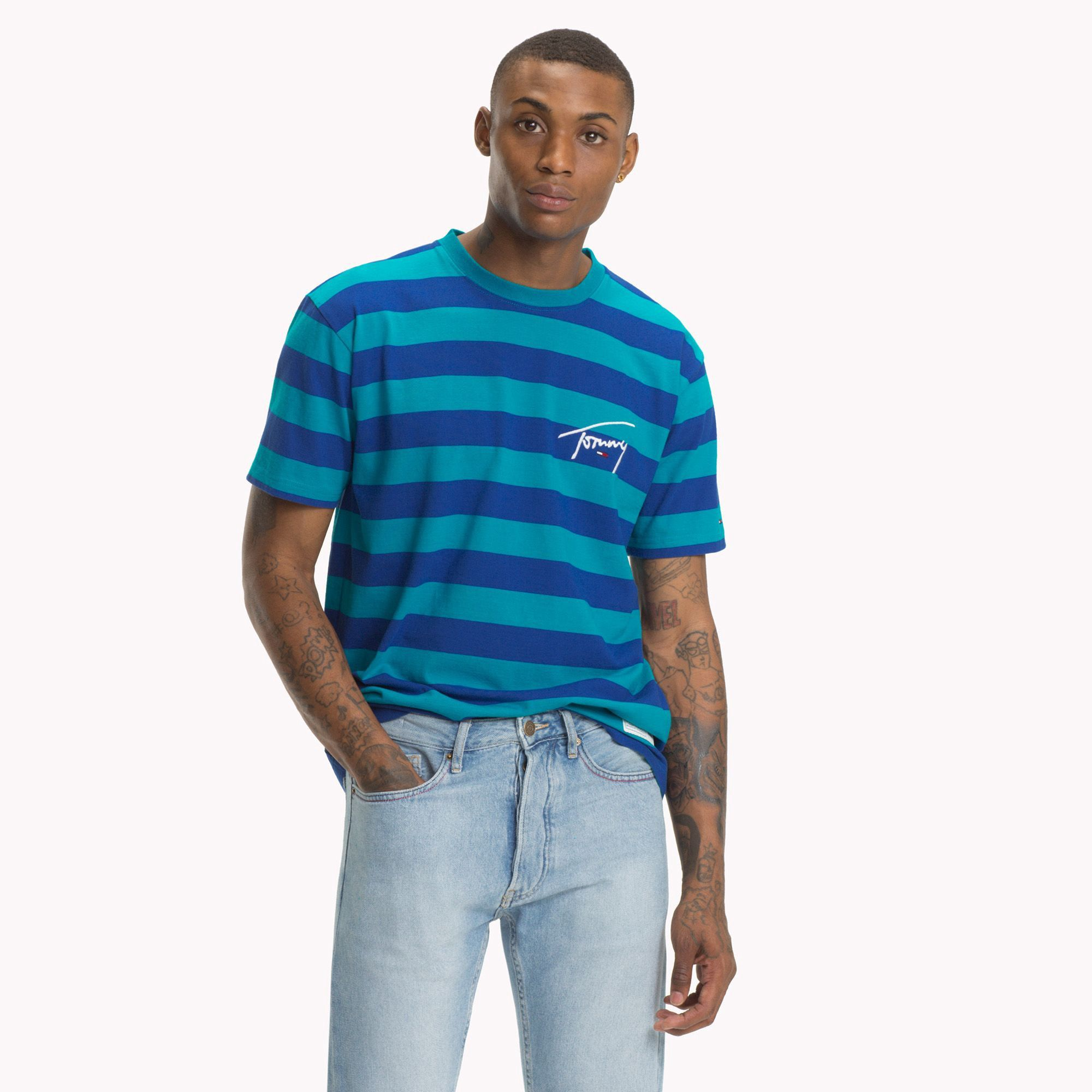 01460ca695 Tommy Jeans Xplore Signature Stripe T-Shirt by Tommy Hilfiger in ...