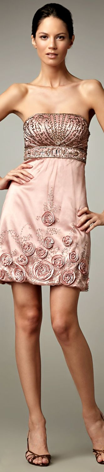 Rose gold Beaded Cocktail Dress by Sue Wong   sponsor   Pinterest ...