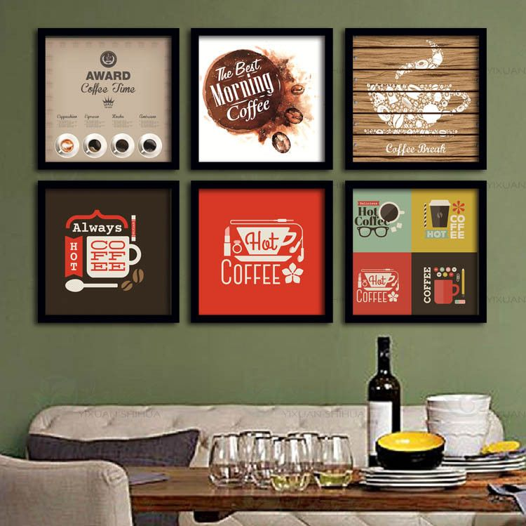 Coffee Time Theme Wall Display Retro Pop Art Posters For Soho Office