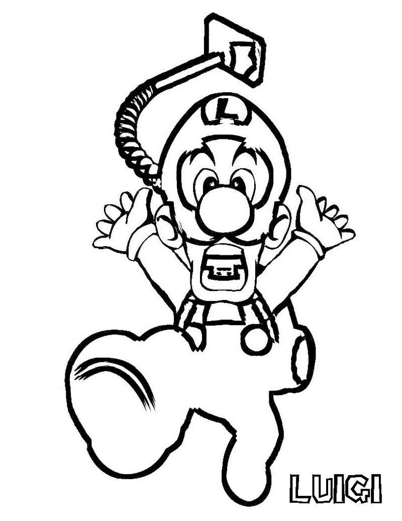 Luigi Super Mario Printable Coloring Picture | Video Game Coloring ...