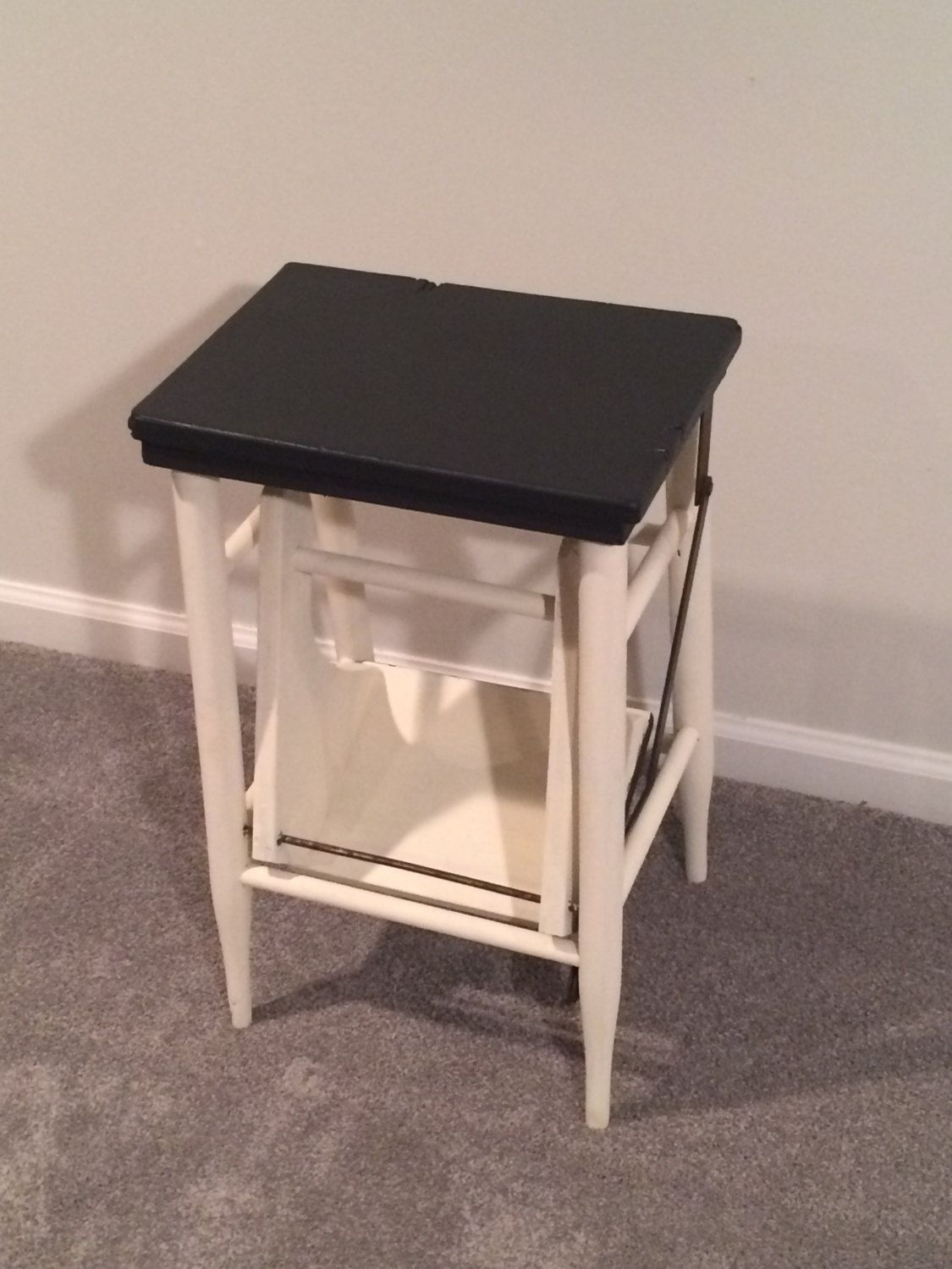 Folding Step Stool, Small Ladder, Utility Chair, End Table, Black And White