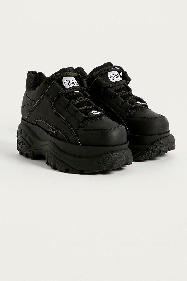 Buffalo Black Leather Chunky Platform Trainers