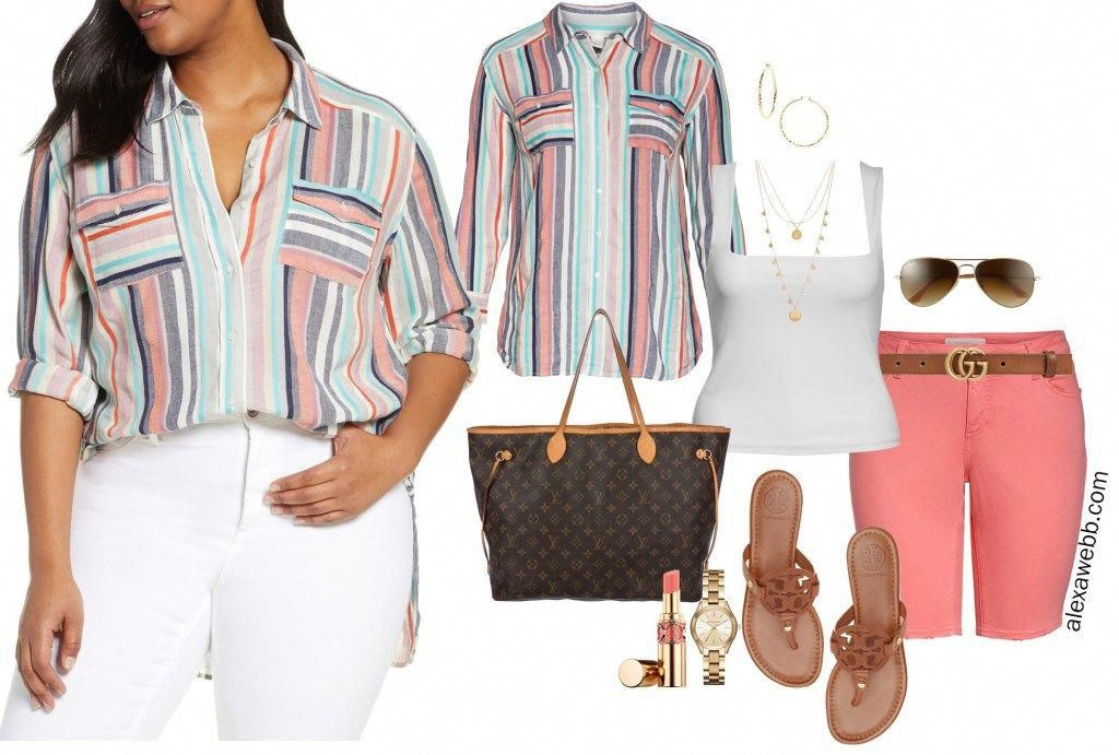 Plus Size Striped Shirt and Shorts - Alexa Webb 3