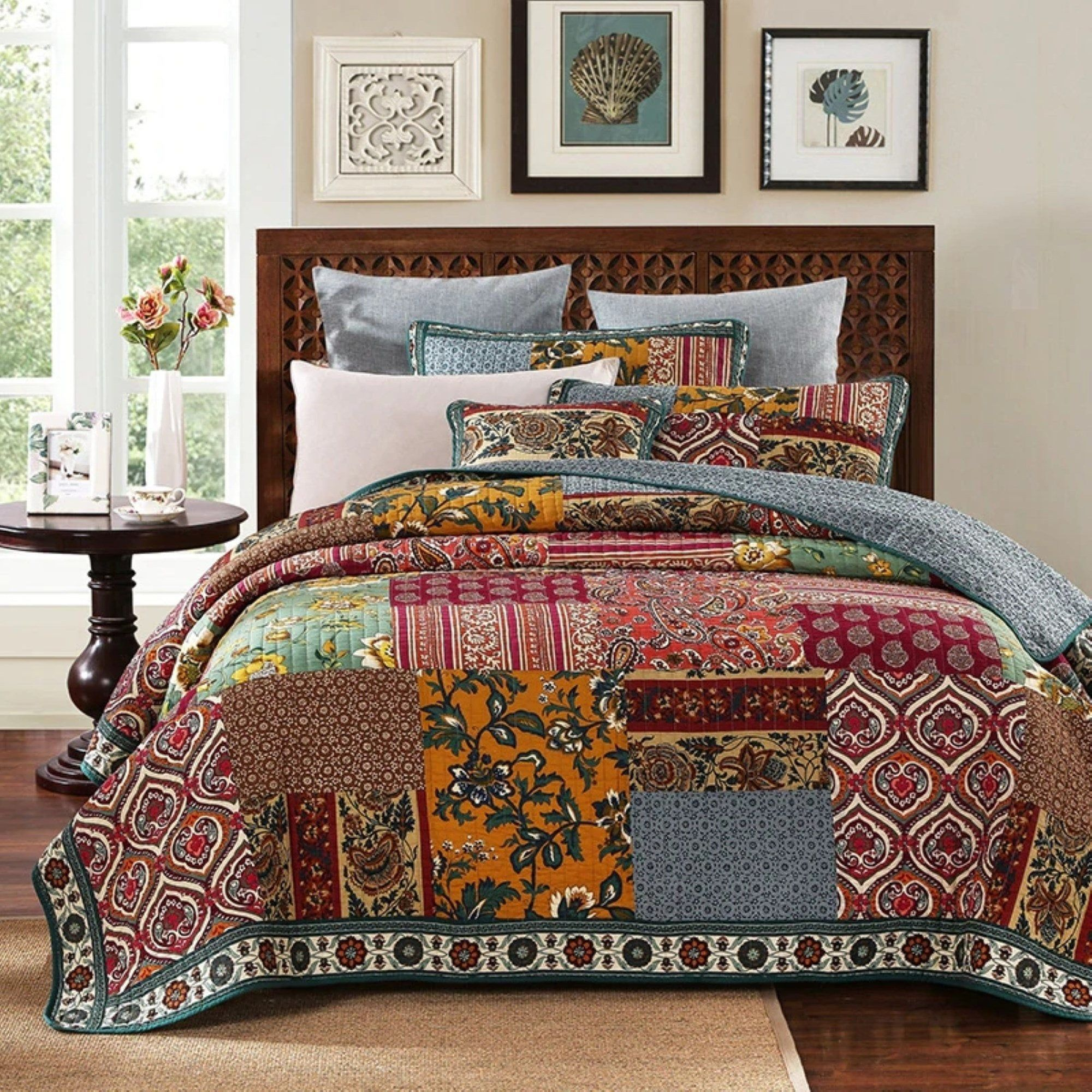 Hand Made King Size Quilt Patchwork Quilt Set With Pillows Farmhouse Quilted Blanket Rag Quilt One Off Rustic Quilt Bedding Set In 2020 Quilt Sets Bedding Bedspread Set Chic Bedding Sets