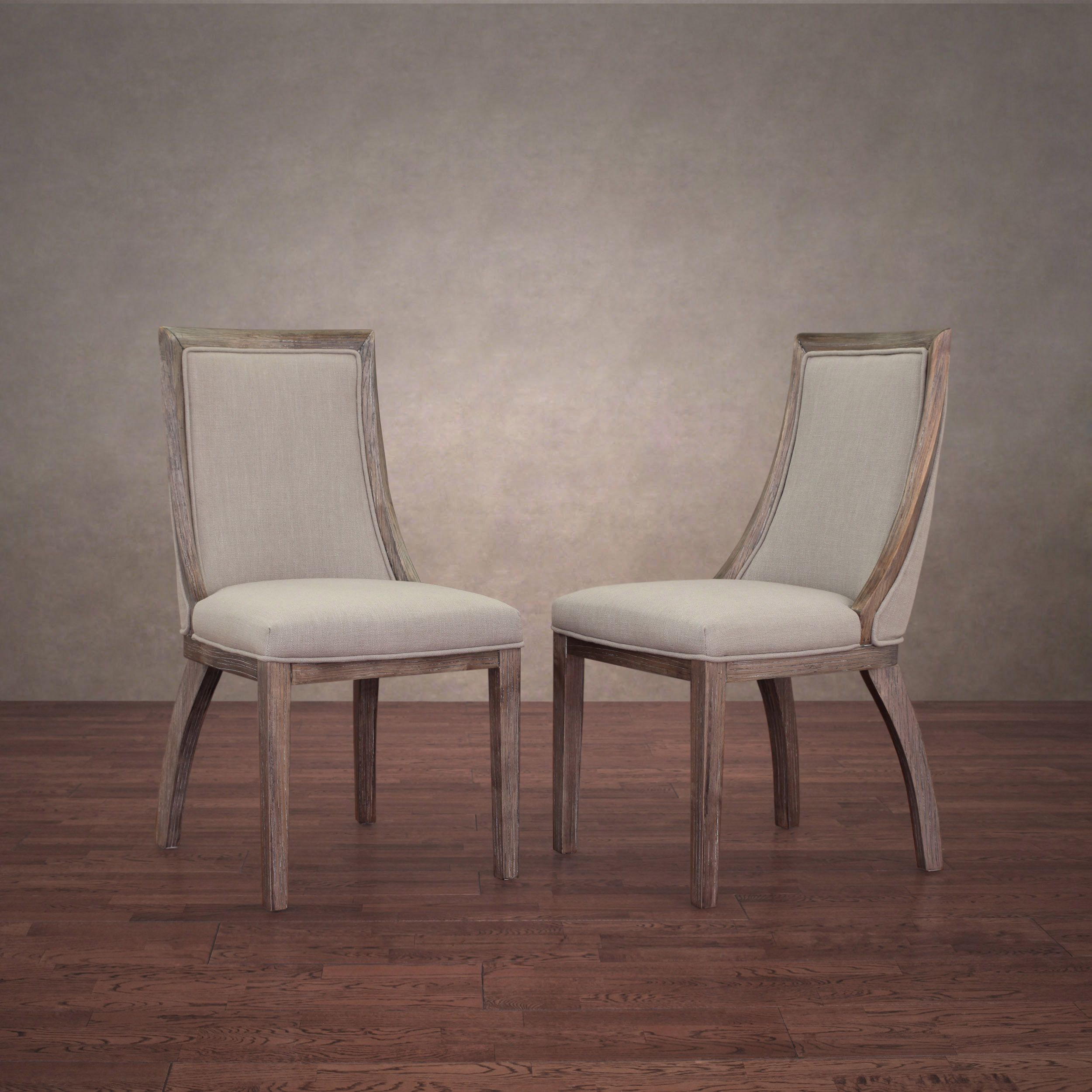 Park Avenue Beige Linen Dining Chairs Set Of 2