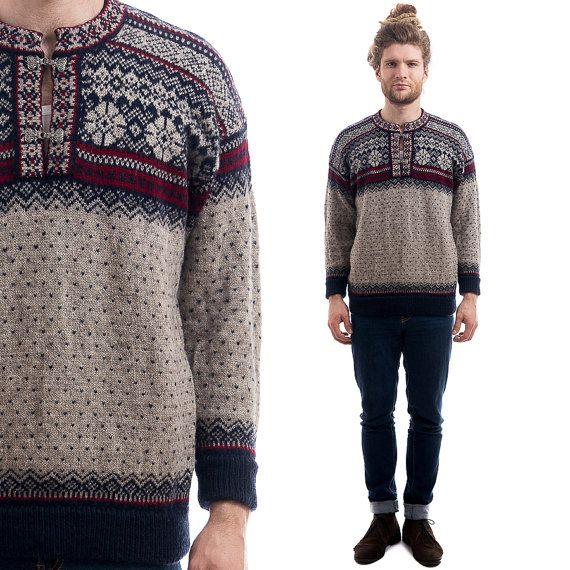 Vintage Nordic Patterned Sweater Mens Wool Winter Norwegian Etsy Sweaters Pattern Sweater Vintage Sweaters