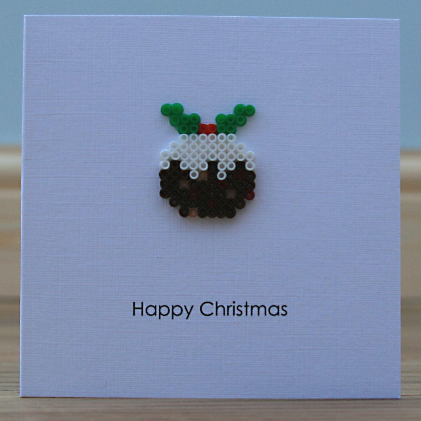 Hama Bead Christmas Puddings Hama Beads Christmas Christmas Card Crafts Homemade Christmas Cards