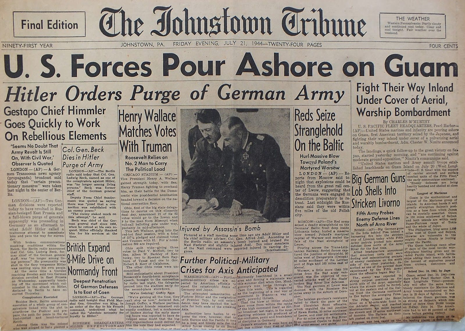 The Johnstown Tribune - World War II: July 21, 1944: U.S. Forces Pour Ashore on Guam