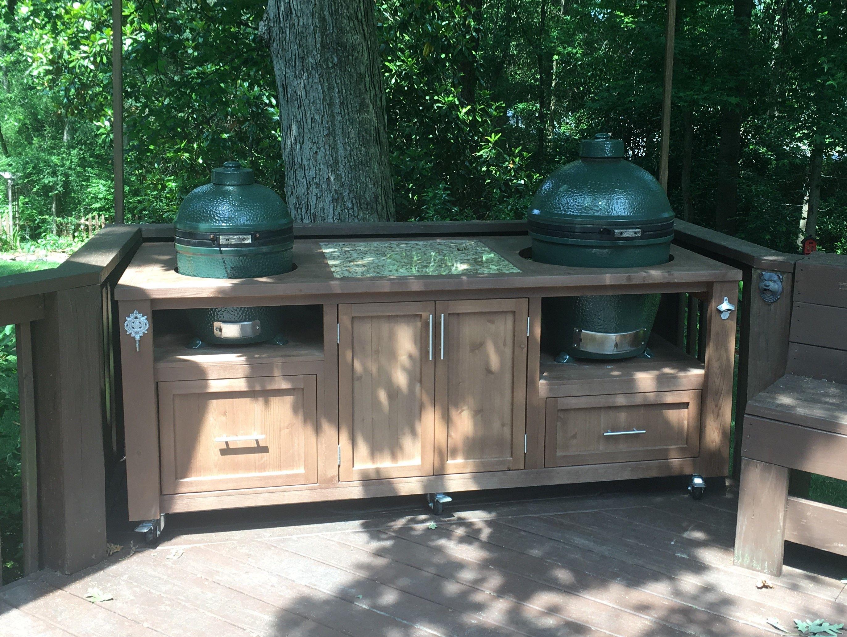 Dual Big Green Egg Table Can Be Make For Kamado Joe Primo Or More Big Green Egg Outdoor Kitchen Outdoor Kitchen Grill Outdoor Kitchen