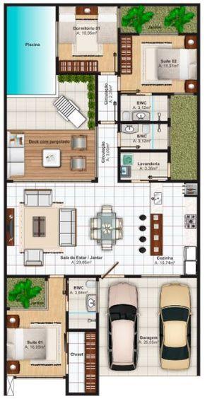 Planos de casas de 10x20 con piscina atr s casa for Planos de piscinas pequenas