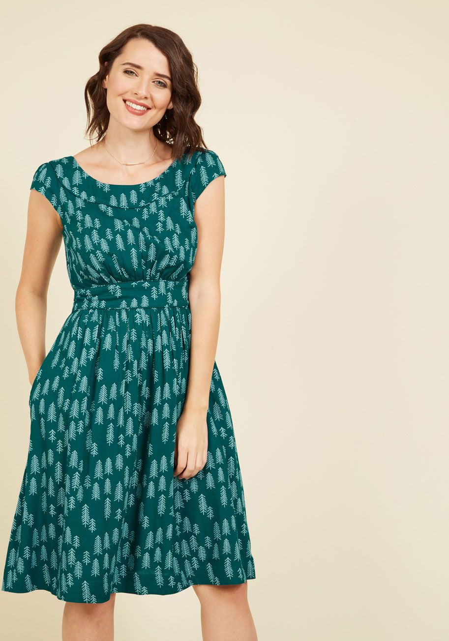 Emily and Fin Day After Day A-Line Dress in Pines | Mod Retro ...
