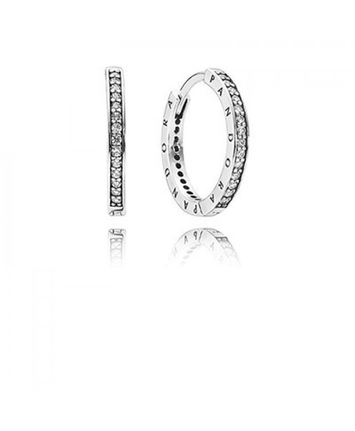 Pandora Signature With Clear Cz Hoop Silver Earrings Uk
