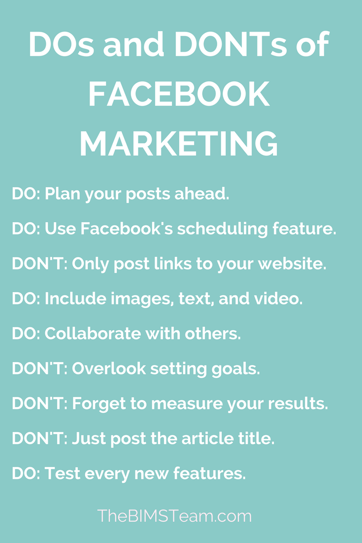 Dos And Donts Of Facebook Marketing Tips How To Use For