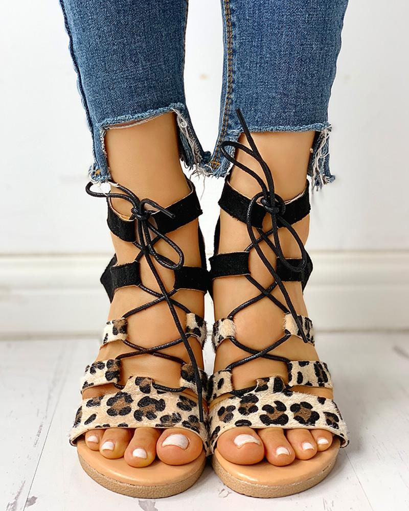 Leopard Print LaceUp Ankle Flat Sandals Leopard Print LaceUp Ankle Flat Sandals Price  3099 Free Shipping  30 days Easy Return