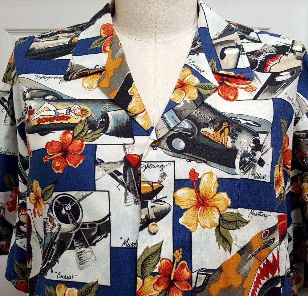 6be5b8e8 Kalaheo WWII Bomber Airplanes Hawaiian Shirt Size 2XL 58
