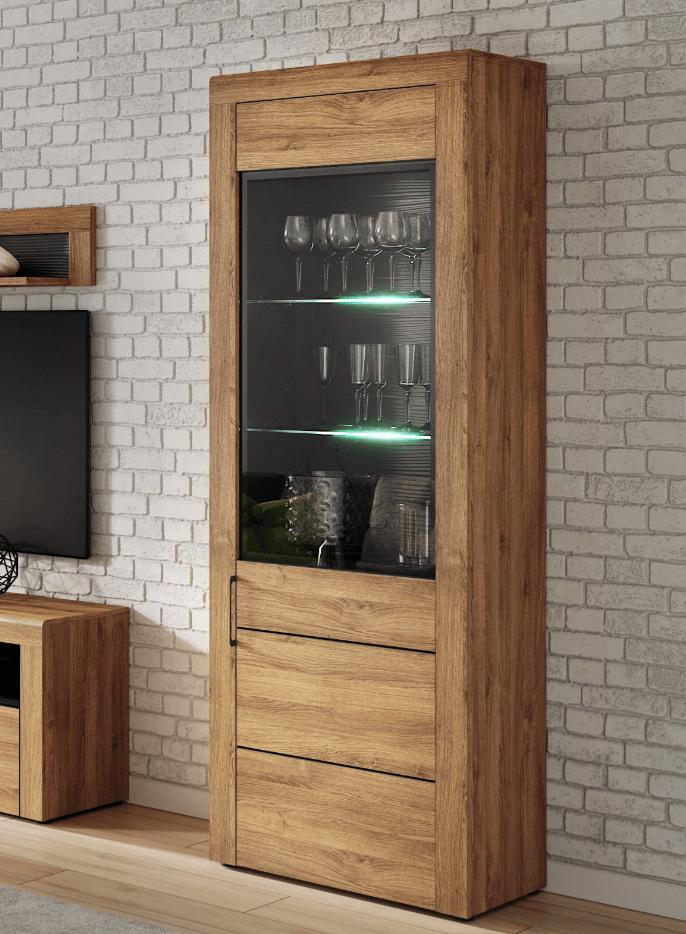 Oakli Modern Oak Effect Display Cabinet Sale Today At