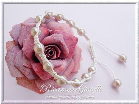 Braccialetto macramè e perle