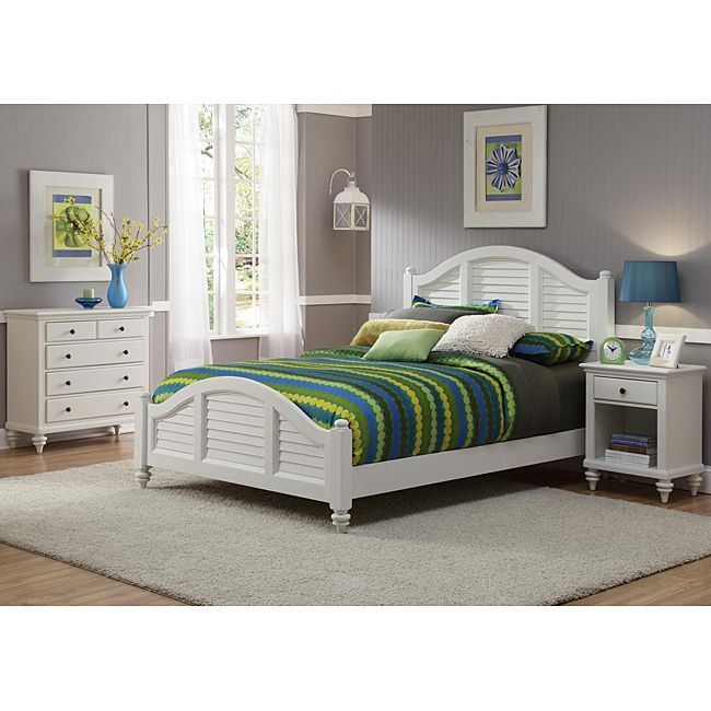 Bermuda Queen Bed Night Stand And Chest Brushed White Finish By