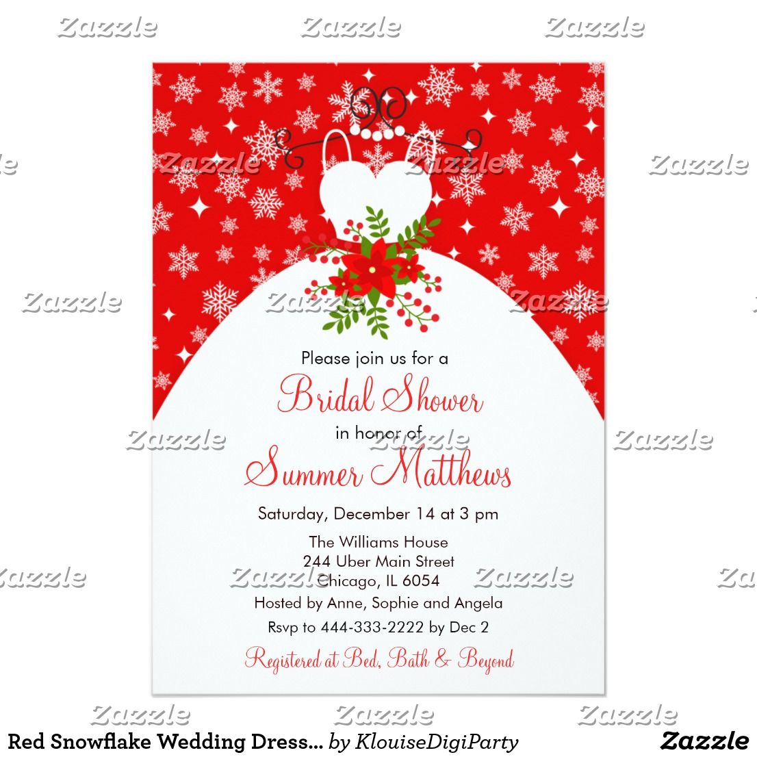 Red Snowflake Wedding Dress Bridal Shower Card
