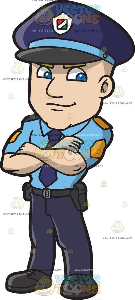 A Male Slovenian Senior Police Inspector Patches Display Blue Necktie Cartoon
