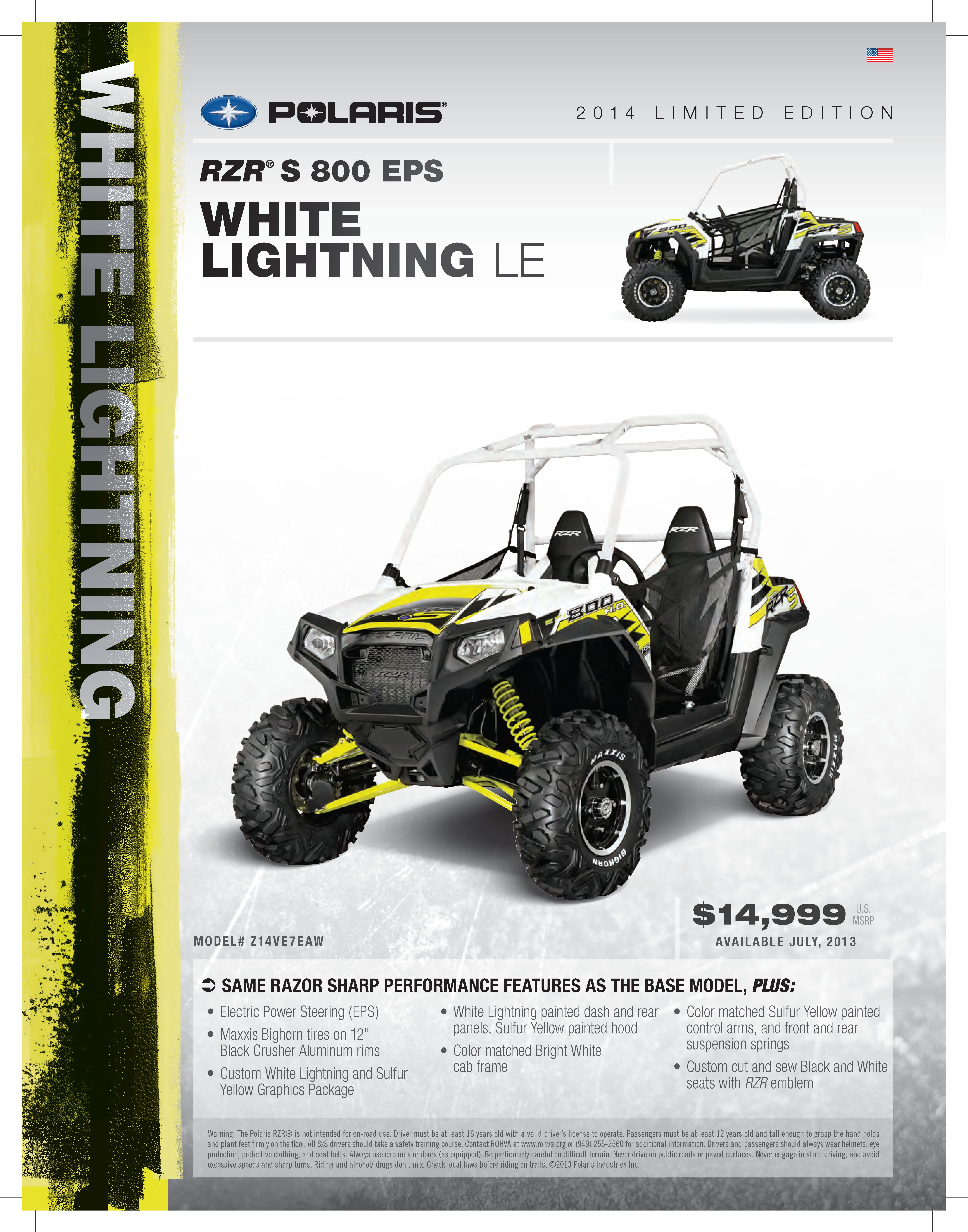 2014 polaris rzr s 800 eps in white lightning woodscyclecountry