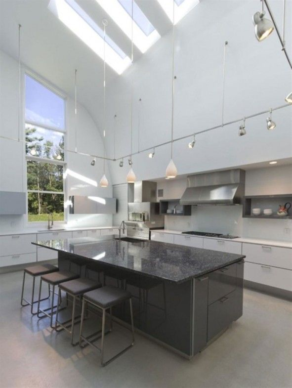 Interior Attractive Track Lighting Idea With Picture Of High Endearing Kitchen Designs With High Ceilings Review