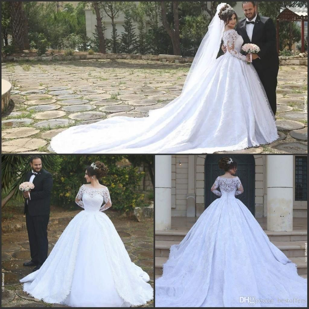 Cathedral train long sleeve ball gowns wedding dress off the