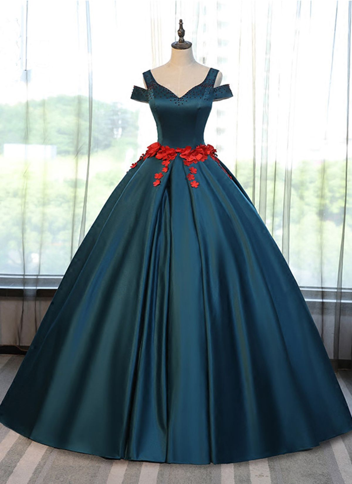 Simple deep green off shoulder long halter prom gown with flower