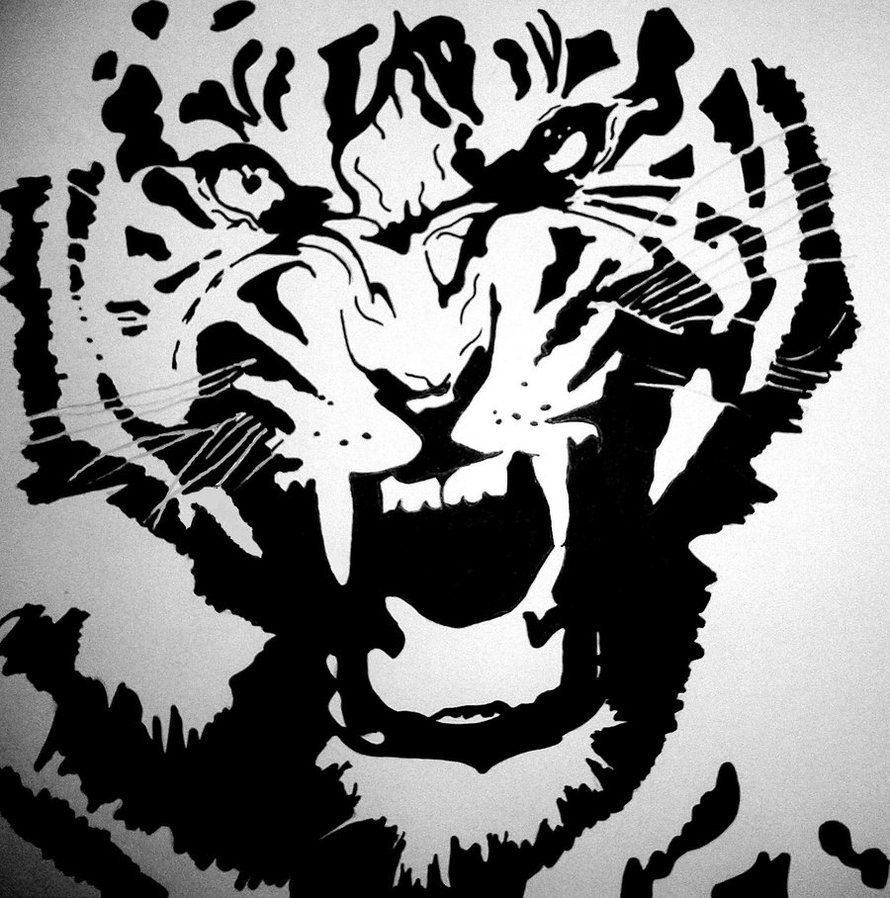 Tiger Head Animal FACE AIRRUSH Painting Wall Stencil