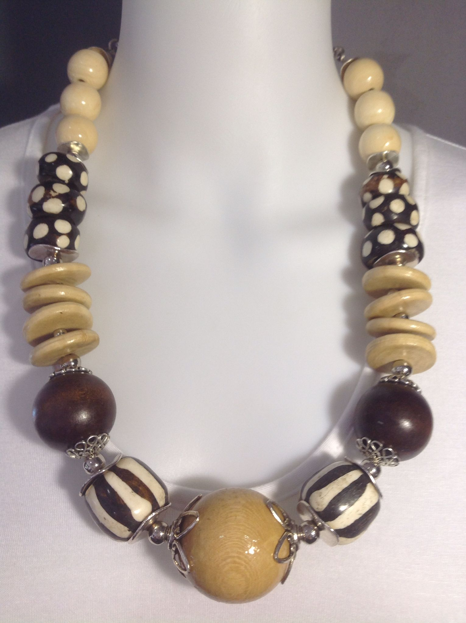 Bold tribal African necklace in neutral tones, dark brown and cream. Wood and batik bone - Michela Rae