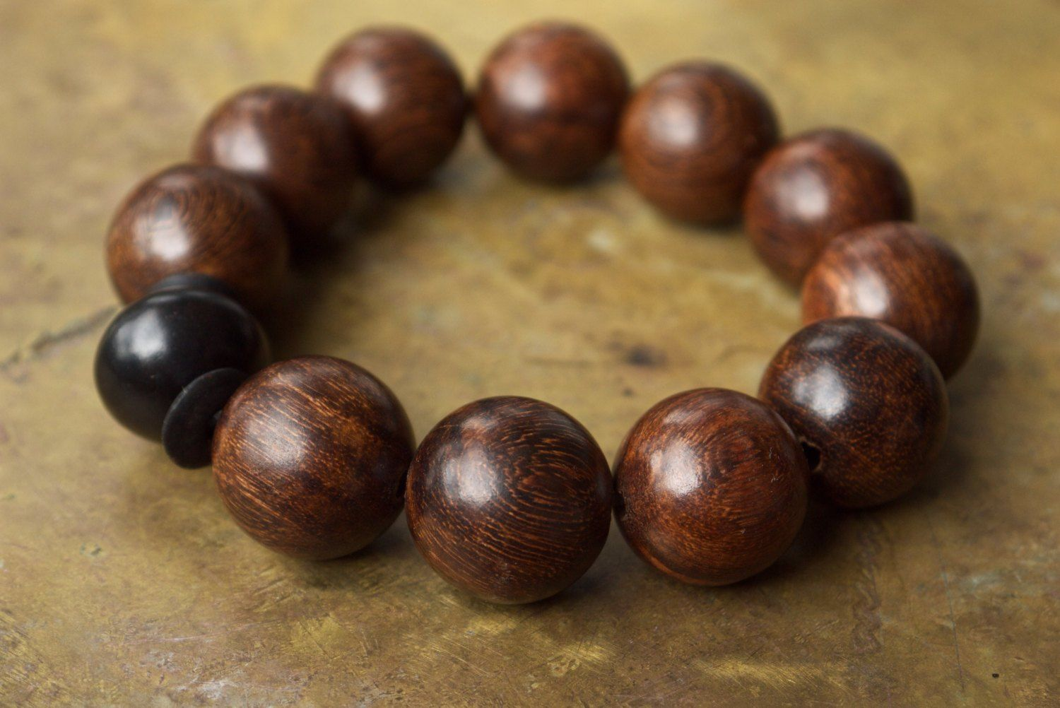 Mens Brown Sandalwood Bracelet With Very Large Wooden Beads
