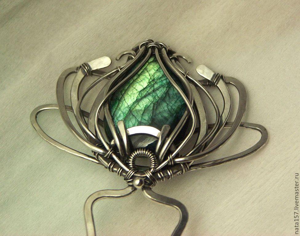 Купить Шпилька Эсмеральда wire wrap - шпилька, серебро, лабродорит, проволока, wire wrap