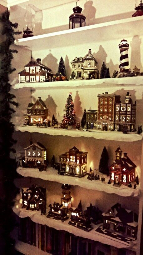 st nicholas square christmas village from kohls repurposed my bookshelves for a town like