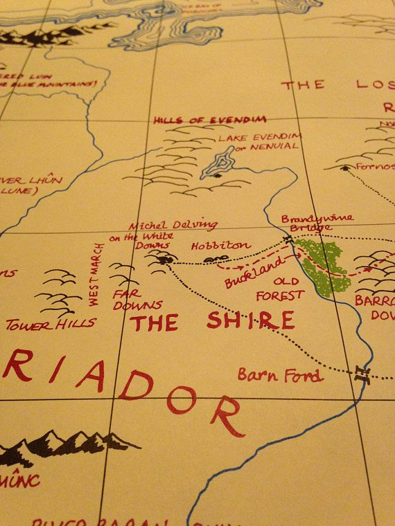 very rare 1966 jrr tolkien the lord of the rings map of middle