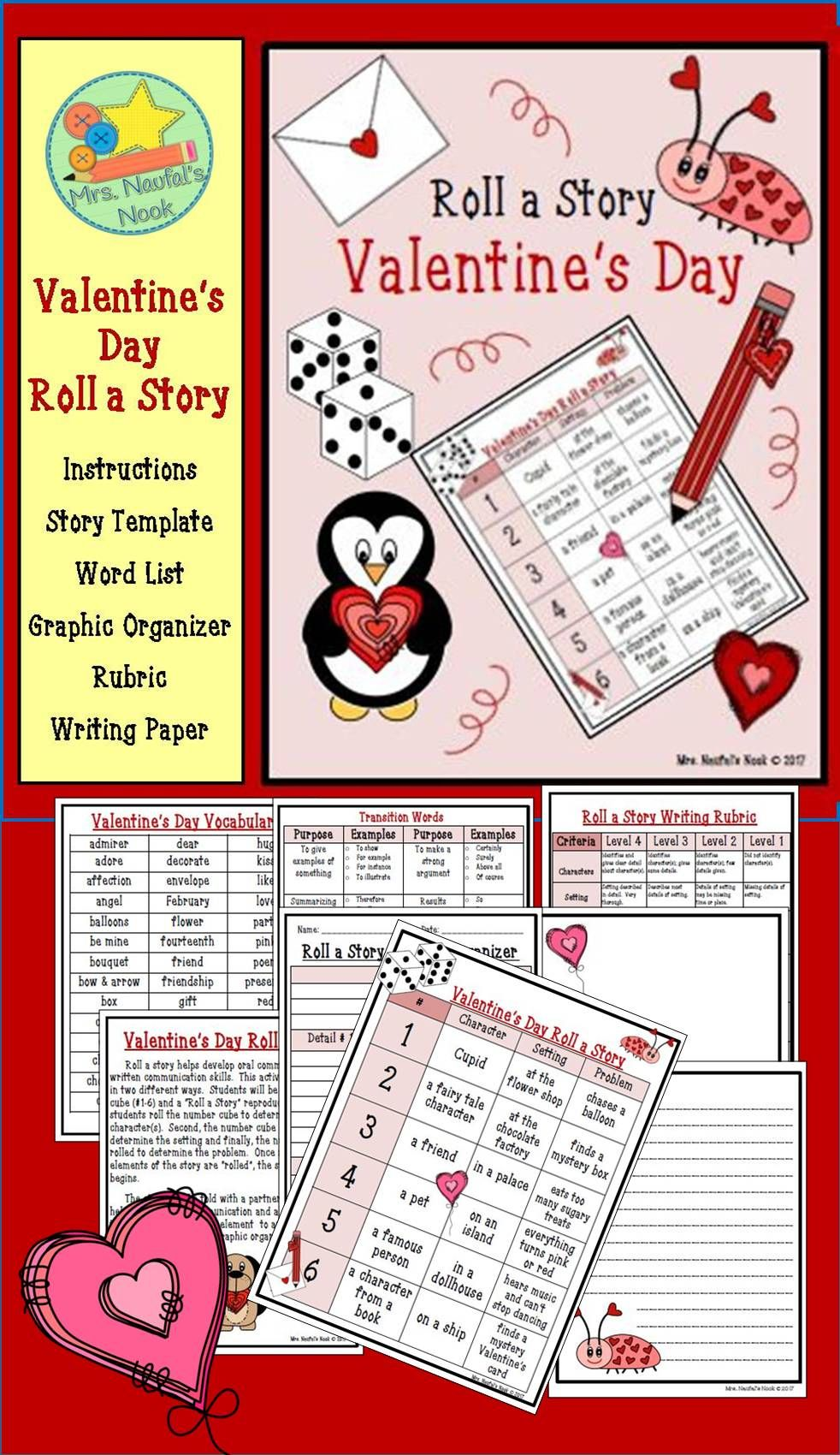 Valentine's Day Roll a Story - Story Prompts, Graphic Organizers