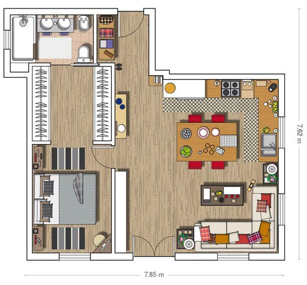 Charming Apartment Decorated In Industrial Style Small House Plans Mini Loft Floor Plans