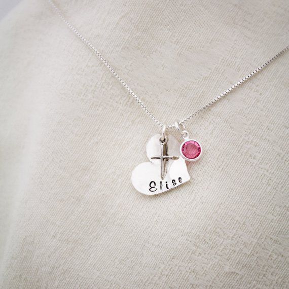 d2422634bbc57 Heart Confirmation Cross Necklace with Birthstone, Hand Stamped ...