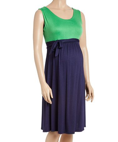 Another great find on #zulily! Green & Navy Color Block Maternity Empire-Waist Dress #zulilyfinds