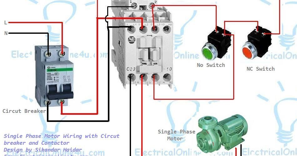 The Complete Guide Of Single Phase Motor Wiring With Circuit Breaker And Contactor Diagram Circuit Diagram Electrical Circuit Diagram Electricity